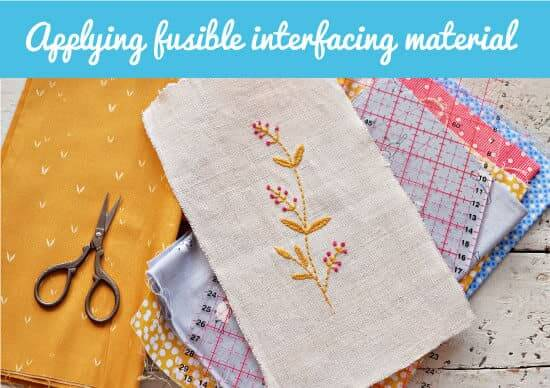 embroidery by applying fusible interfacing material